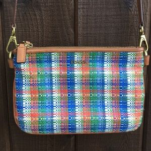 Fossil crossbody purse, colorful woven detail